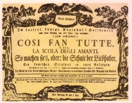 Cartel del estreno de Così fan tutte en el Burgtheater de Viena (20 de enero de 1790)