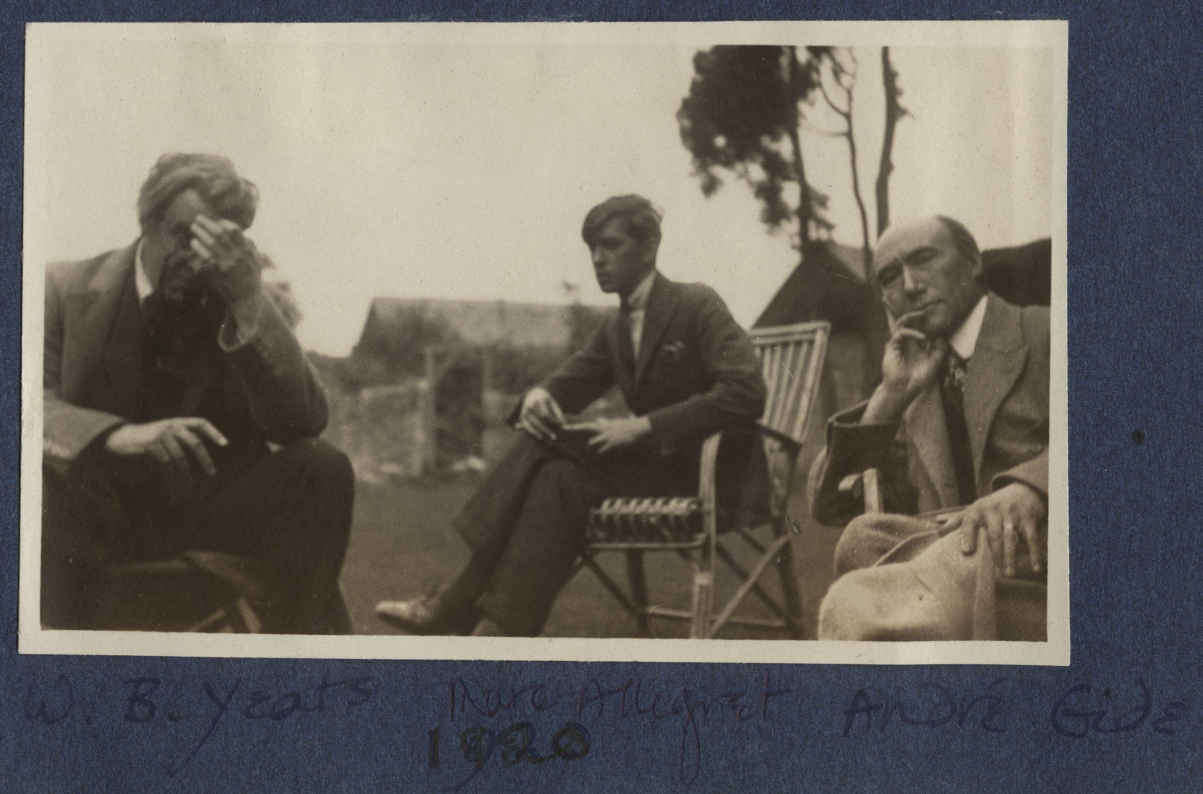 William_Butler_Yeats,_Marc_Allégret,_André_Gide_by_Lady_Ottoline_Morrell